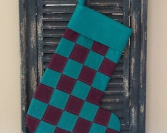 Christmas  Stocking  - Quilted Patchwork Christmas Stocking (Purple and Turquoise) - Stocking - Patchwork Stocking - Quilted Stocking