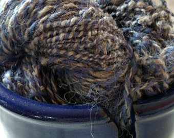 Handspun Purple/Gray 2 ply worsted weight yarn