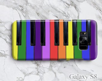 Galaxy S8+ Rainbow Piano Keyboard Phone Case, iPhone 7 Plus Creative Support LGBT, Modern Lightweight 3D Edgeless S8 iPod Touch 6 Cover