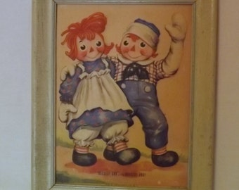 Vintage RAGGEDY ANN & ANDY 3D Picture, Georgene Novelties, Third Dimension Picture, 1950's Wall Decor, Raggedy Ann and Andy, Nursery Decor