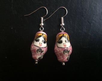 Ceramic pink Russian doll earrings
