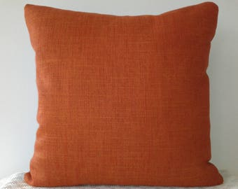 Burnt orange and azure blue cotton canvas cushion