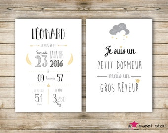 Set of 2 custom poster - boy - A4 - personalised birth gift