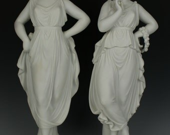 "Antique large 15"" german pair of parian figurines"