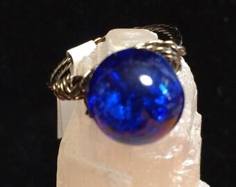 Cobalt Blue beaded ring
