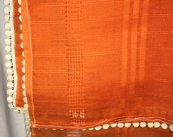 "Vintage~Orange Tablecloth~ 52 "" x 59"" beautiful"