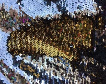 """Silver/Gold Shiny 5mm Flip Up Sequin on Spandex, 54"""" inch, sold by the yard"""