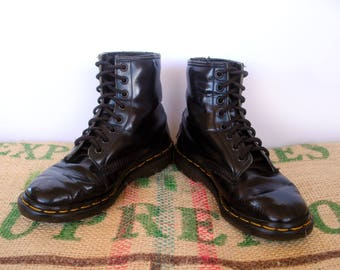 distressed dr doc martens classic black boots u2013 80u0027s vintage original made in england size