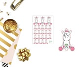 U16 Coffee drinking Unicorn Lilly, HANDDRAWN Stickers perfect for any Planner, Scrapbook