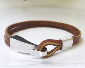 FREE SHIPPING- Men's  Leather Bracelets,Hook Mens Bracelet, Leather Bracelet,Bracelets for Men,Double Strap Bracelet,Brown Leather Bracelet