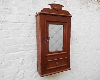 Rustic Bathroom Wall Cabinet Large Storage Cabinet In Oak With Mirror Tray Vintage Bathroom