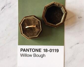 Velvet Ring Box Olive Octagon Handmade Wedding Vintage  Engagement Gift Bride