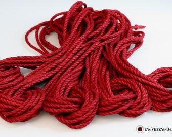 Kit of 5 cords of hemp for shibari-kinbaku diam 5mm 8 m long, red color