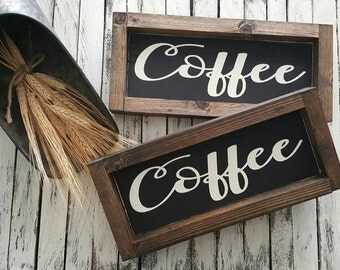 Coffee Sign. Coffee Bar sign. Kitchen decor. Rustic sign. Rustic framed sign. Coffee station.