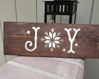 Rustic Christmas Winter Wood Hand painted wooden sign, JOY, Christmas wall decor, holiday wall decor