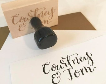 Hand Lettered Name Stamp, Bride and Groom's Names