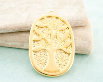 """1pc tree of life pendant oval 1,85"""" gold pl. #3911"""
