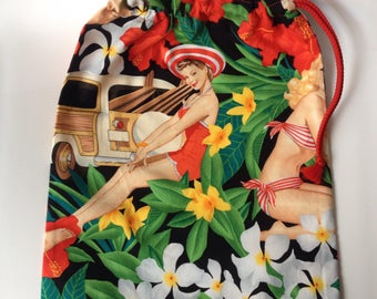 Lingerie bag travel bag, fabric pin-up in a swimsuit.