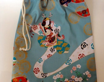 Lingerie bag travel bag, blue gray Japanese geisha dancer