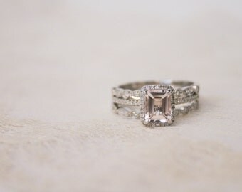 Diamond Halo White Gold Morganite Engagement Ring, White Gold Morganite Ring, Diamond Halo Morganite