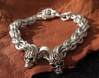 Handmade Men's Silver Tribal Skull chainmaille Goth Pirate Bracelet Jewelry