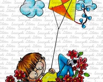 Kite Boy by Sasayaki Glitter Digital Stamps. Black and White Only