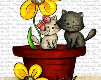Image #14 - Valentine Cats - Digital Stamp by Sasayaki Glitter Digital Stamps - Naz - Line art only - Black and white