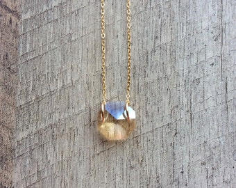 Crystal Necklace (Single Octagon), Birthstone Necklace, Short Necklace, Pendant Necklace, Rustic Modern Jewelry, Free Shipping U.S.