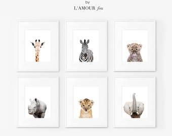 Set of 6 safari nursery decor, Safari nursery prints, Safari  Nursery Printable, Safari  animals decor, Baby animals, Nursery art, Nursery