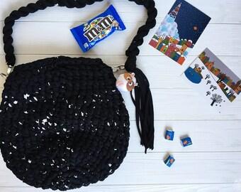 Crochet bag «Black with white stars»