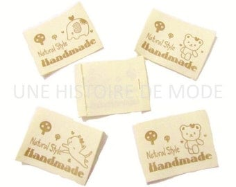 "20 tags ""HANDMADE"" 65 x 40 mm - tag for handmade creations"