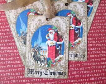 Christmas Tags-Santa in Chimney Vintage Image-Set of 6