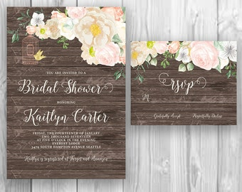 Floral Wood Calligraphy Bridal Shower Invitation Printable Boho Chic Party Invite Suite Bohemian Wedding Shower Spring / Summer Wedding