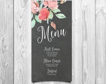 Printable Wedding Menu, Floral Wedding Menu, Menu Card Printable, Rustic Wedding Menu, Modern Pink Peony Wedding Menu Cards, Printable Menu