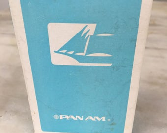 vintage Pan Am playing cards, airline deck of cards, light blue