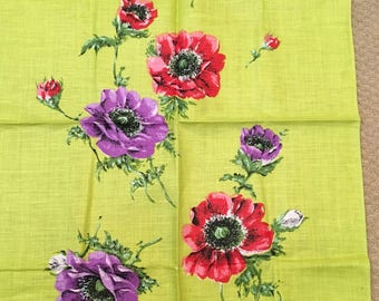 vintage poppy Irish linen tea towel world wildlife fund design lime green purple red flowers, NEVER USED