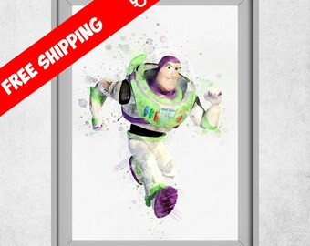 Toy Story Buzz Lightyear Print, Toy Story Nursery Wall Art Decor, Disney Prints, Watercolour Toy Story Room Decor, Pixar Art, Free Shipping