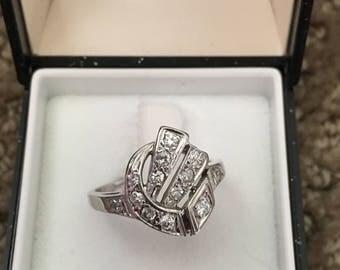 Retro Diamond Cluster Ring 14kt White Gold
