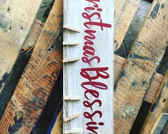 Christmas Blessings Christmas card holder,sign, clothes pins