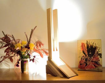 Iroko and Sycomore Wood Lamp with a Beeswax Finish.