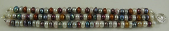 Freshwater Multicolor Rondel Shape Pearl Bracelet with Sterling Silver Clasp