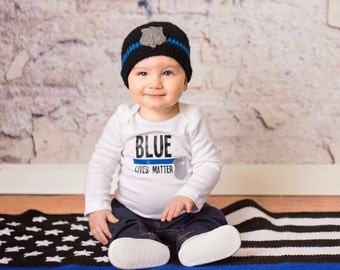 Crochet thin blue line baby beanie, police beanie hat with badge or flower
