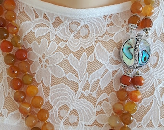 Gemstone necklace Orange agate, Pearl Jewelry clasp
