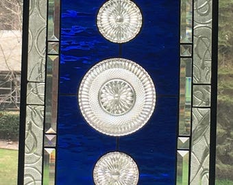 Stained glass window with vintage dishes, cobalt blue, beveled border