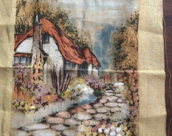 Penelope Canvas 1940s 1950s Devon Cottage  Tapestry stencilled canvas, English Thatched Roof cobble path country garden Easystytch 119