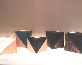 Pine Modern Painted Triangle Candles