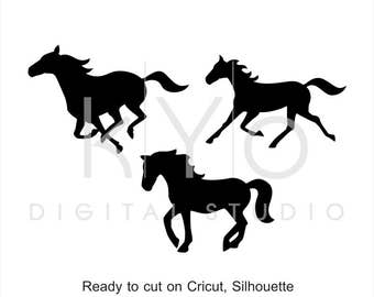Horse Silhouette SVG cut files, Horse Clipart, Running horse Mustang Equestrian cuttable svg dxf png eps files for Cricut and Silhouette