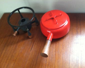 Dansk Kobenstyle Fondue Pot with Iron and Teak Base