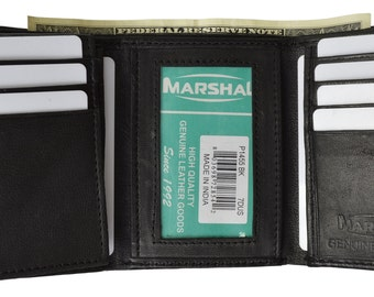 Men's Leather Trifold Wallet Removable Flip Up ID Window Black  P 1455