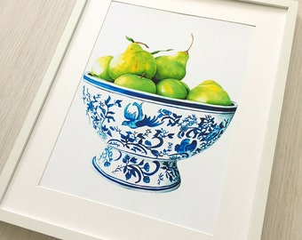 Blue and white china Autumn Pears ready to hang art print